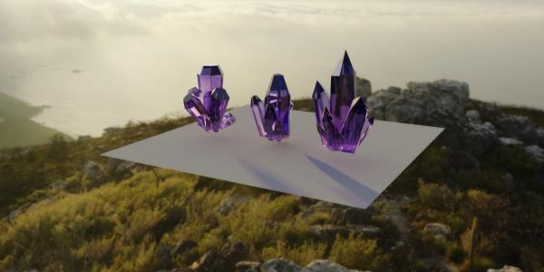 Kryształy wygenerowane komputerowo w programie Maya na potrzeby szkolnego projektu, źródło: praca własna/wszystkie prawa zastrzeżone