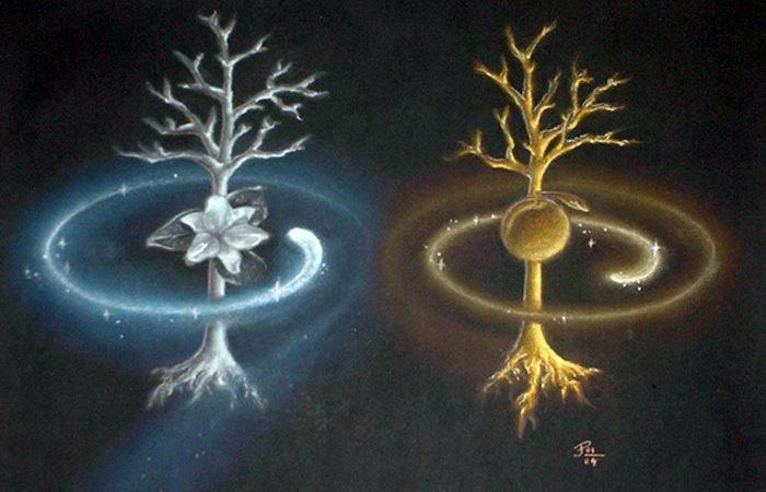 Drzewa Valinoru, czyli Laurelin i Telperion, źródło grafiki: Julia Pelzer/wikimedia.org/CC BY-SA 3.0