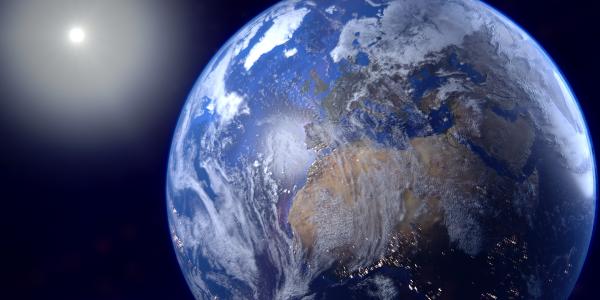 Render Ziemi wykonany za pomocą programu Blender (v.2.8 beta) mojego autorstwa. Oparty o rozwiązania i samouczek BlenderGuru. (źródło: praca własna/wszelkie prawa są zastrzeżone)