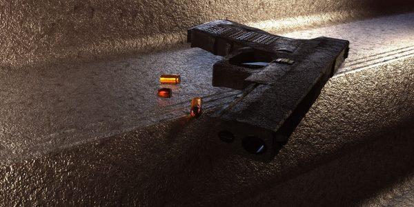 Model 3D pistoletu typu GLock, który wykonałem w ramach edukacji w Akademii Filmowej AMA w Krakowie, źródło: praca własna, wszelkie prawa zastrzeżone